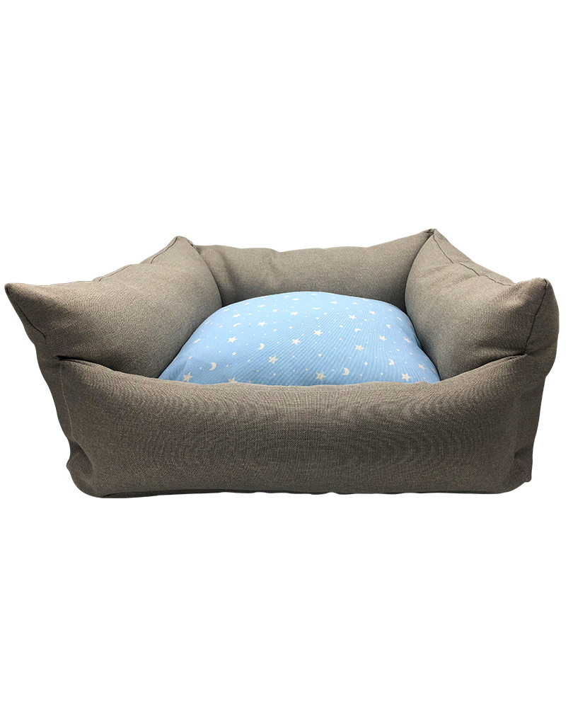 gray bed – blue cushion 01