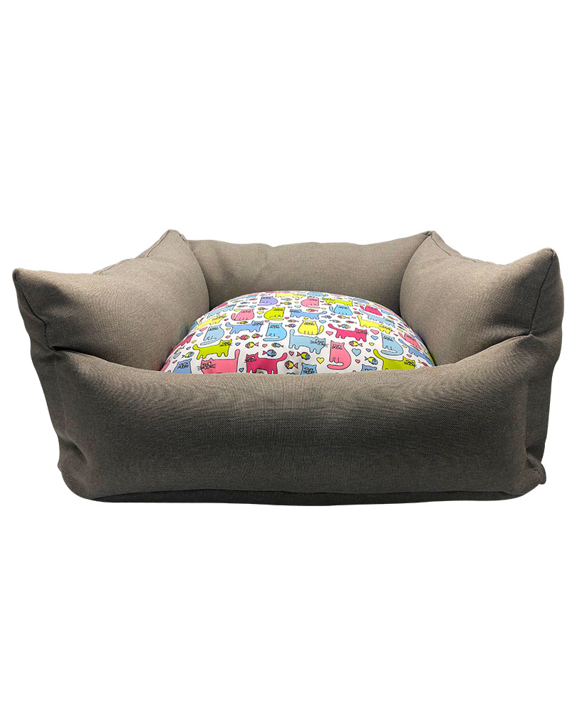 gray bed – colored cushion 01
