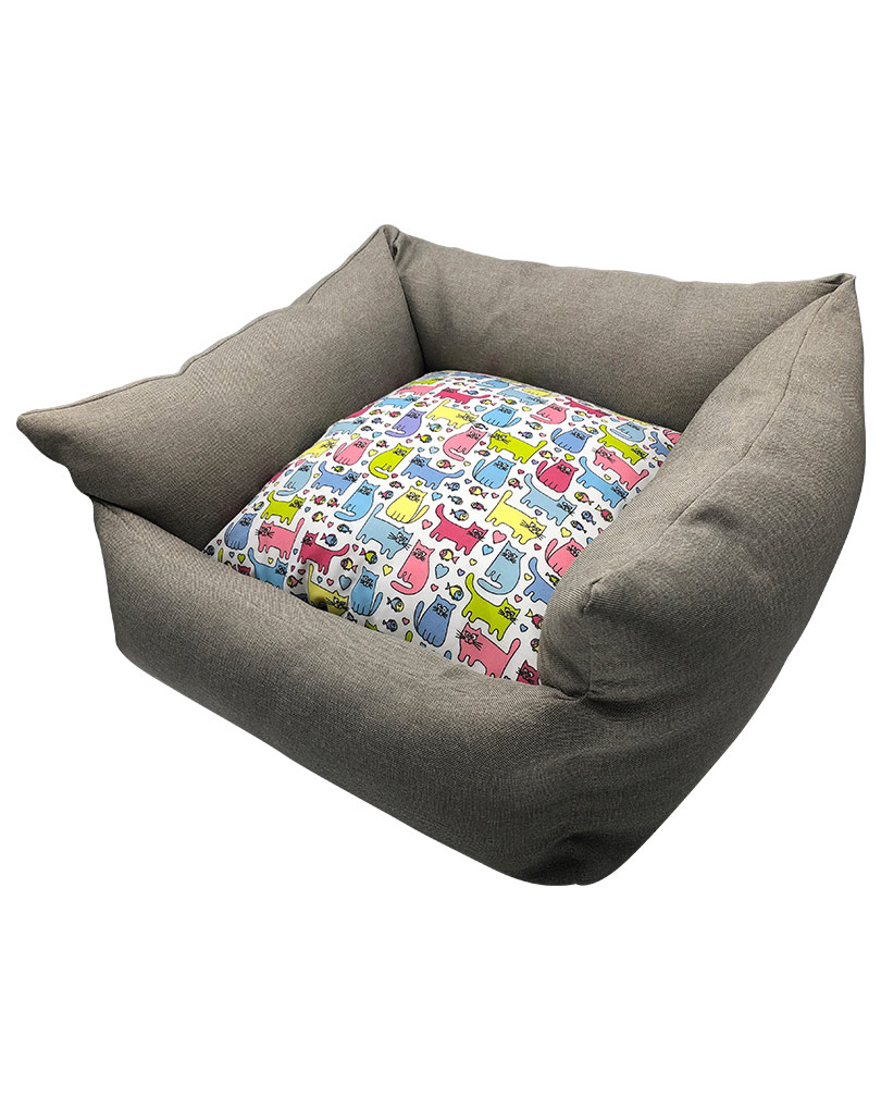 gray bed – colored cushion 02